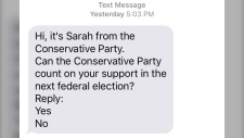 A text message sent Sunday, Aug. 18, 2019 is shown.