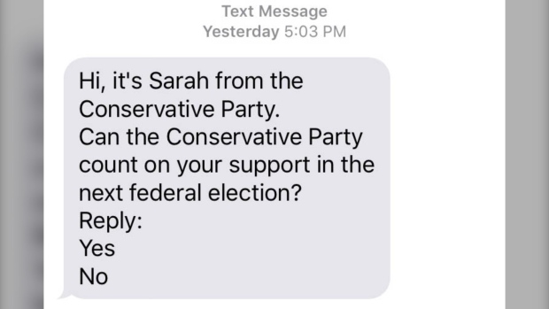 Conservative party text message