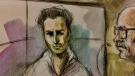 Fereidoon Hayatibahari is seen in this court sketch on Monday, Aug. 19, 2019. (Pam Davies/ CTV News Toronto)