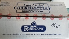 A box of Rosemount cooked chicken is shown in an image provided by the CFIA.
