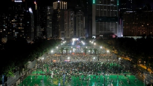 Protesters attend a rally at Victoria Park in Hong Kong, Sunday, Aug. 18, 2019. (AP Photo/Kin Cheung)