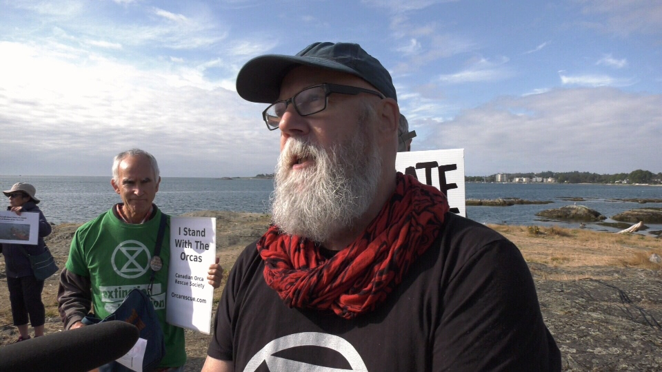 Howard Breen with the group Extinction Rebellion Vancouver Island was arrested Monday. (CTV Vancouver Island)