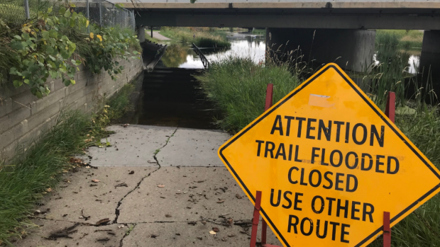 Unseasonably high water levels are causing flooding on St. Albert trails.