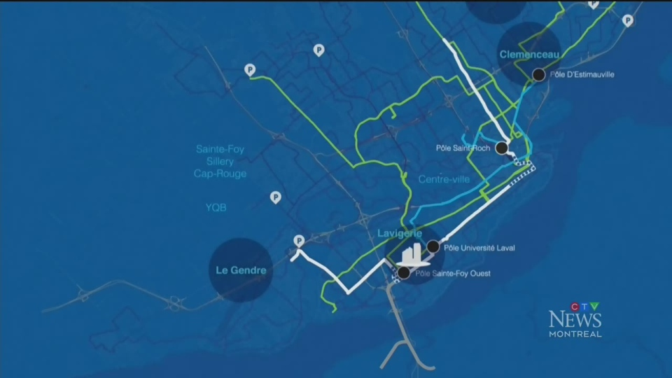 The tram lines and public transit planned for Quebec City