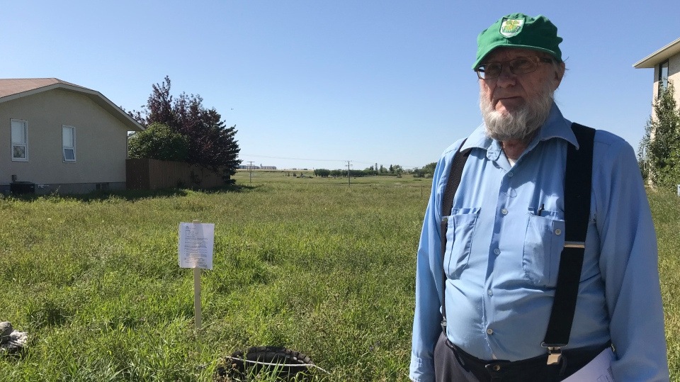 A Regina man is upset with the city after he received notice to cut down plants in a vacant lot that he owns. (Cally Stephanow / CTV Regina)