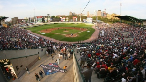 A general view of Frontier Field where T.J. Zeuch threw a no-hitter on Monday. (File Photo/Bill Wippert/Invision for Pepsi MAX/AP Images)