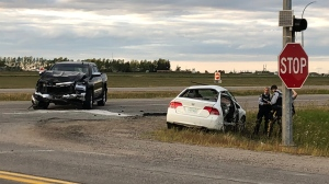 One person has been sent to hospital with serious injuries after a crash at Highway 11 and Wanuskewin Road, RCMP say. (Francois Biber/CTV News)