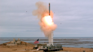 This Sunday, Aug. 18, 2019 photoprovided by the U.S. Defense Department shows the launch of a conventionally configured ground-launched cruise missile on San Nicolas Island off the coast of California. (Scott Howe/U.S. Defense Department via AP)