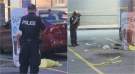 Police investigate after a shooting at a plaza near Highway 401 and Weston Road on August 20. (CTV News Toronto)