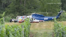 A LifeFlight helicopter arrives at the scene of a serious crash in Nova Scotia's Kings County on Aug. 19, 2019. (Bill Roberts)
