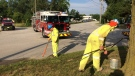 Four buildings on Continental Avenue have been evacuated after a gas leak in Windsor, Ont., on Tuesday, Aug. 20, 2019. (Stefanie Masotti / CTV Windsor)