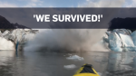 A kayaker caught the moment a glacier collapsed