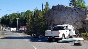 Truck hits rock cut on Hwy 144 south of Cartier (OPP)