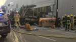 Richards Street in Vancouver was closed early Tuesday, Aug. 20, 2019. (Jim Fong / CTV News Vancouver)