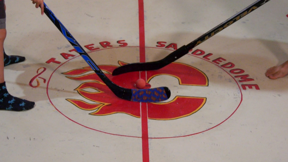 The Calgary Flames logo at centre ice at Taters' Saddledome in northeast Calgary