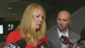 Canadian canoeist Laurence Vincent Lapointe, joined by lawyer Adam Klevinas, spoke in Montreal after she was suspended from competition