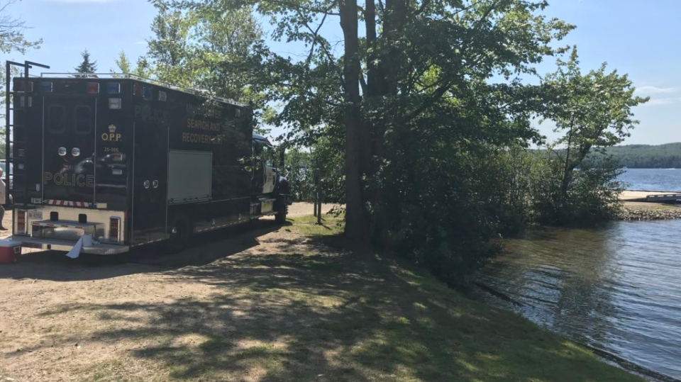 The OPP Search and Recovery Unit locates the body of Toronto father in Peninsula Lake in Huntsville on Tues., Aug. 20, 2019 (CTV News/Beatrice Vaisman)