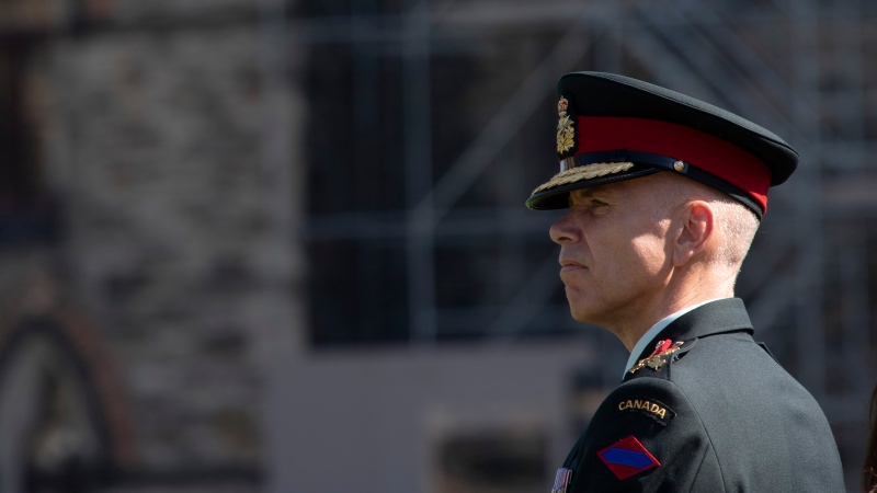 Lieutenant-General Wayne Eyre listens to speakers during a change of command parade for the Canadian Army on Parliament Hill Tuesday, August 20, 2019 in Ottawa. THE CANADIAN PRESS/Adrian Wyld