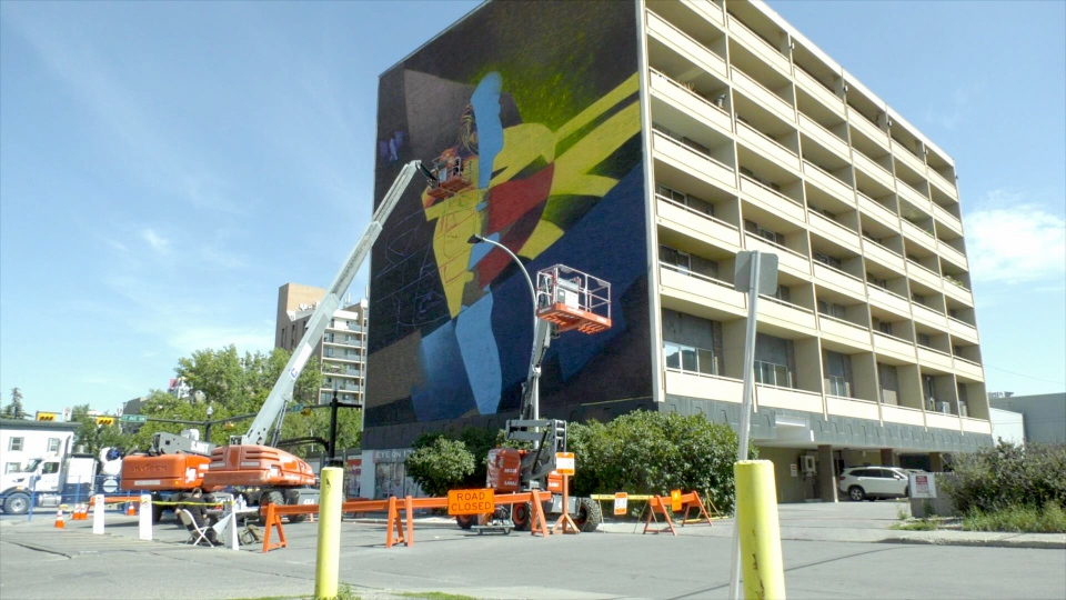 One of the 15 murals being created in the Beltline neighbourhood as part of the BUMP project.