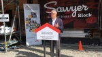 Minister of Families, Children and Social Development Adam Vaughan announces the funding for the Sawyer Block project on Aug. 20, 2019. (CTV Vancouver Island)