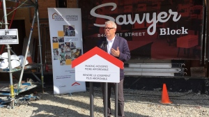 Parliamentary secretary to the Minister of Families, Children and Social Development Adam Vaughan announces the funding for the Sawyer Block project on Aug. 20, 2019. (CTV Vancouver Island)