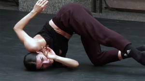 A contemporary dancer performs at the schedule unveiling for the Quartiers Danses Festival