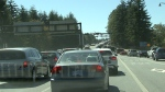 Traffic backups on the Lions Gate Bridge. File