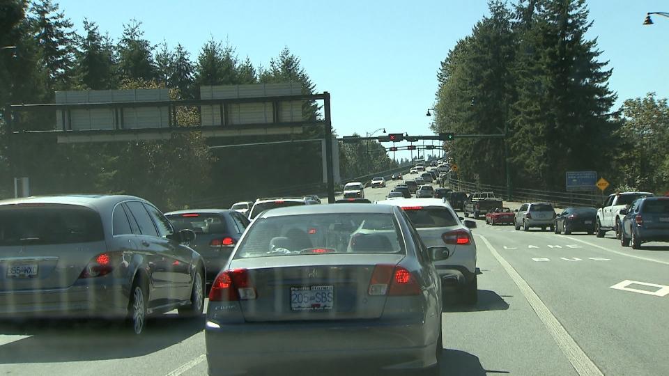 Traffic backups on the Lions Gate Bridge. File