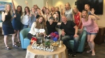 Friends and family were waiting to celebrate after my last chemotherapy treatment.