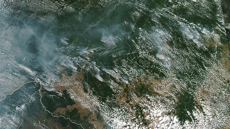 Smoke from fires in Brazil's Amazon rainforest is captured by a satellite image on Aug. 13, 2019. (NASA Earth Observatory / Lauren Dauphin)