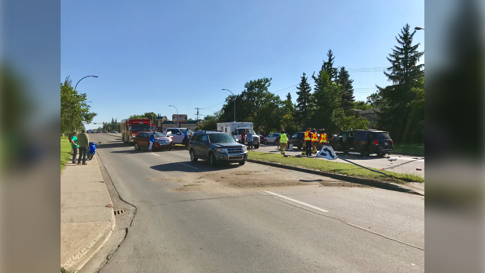 A portion of 75 Street was shut down Tuesday afternoon after an alleged hit and run.