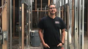 AIDS Saskatoon executive director Jason Mercredi at the in-progress safe consumption site in 2019. (Saron Fanel/CTV Saskatoon)