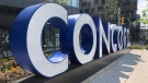 "A giant ""CONCORD"" sign is seen at the corner of Bathurst Street and Fort York Boulevard. (Natalie Johnson/CTV NEws Toronto)"