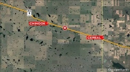 This image from Google Earth shows the location of fiery multi-vehicle collision in Alberta.