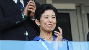 Japan's Princess Takamado attends the group H match between Japan and Senegal at the 2018 soccer World Cup at the Yekaterinburg Arena in Yekaterinburg , Russia, on June 24, 2018. THE CANADIAN PRESS/AP, Eugene Hoshiko
