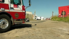 A Calgary Fire Department engine at the scene of Tuesday afternoon's Quonset fire along 36 St NE