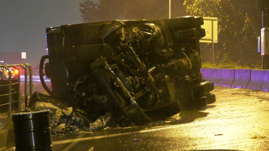 Rollover inferno involving waste oil truck closes off-ramp in North Vancouver