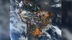 A satellite image of the record number of wildfires are burning away large areas of the Amazon rainforest, or the 'Lungs of the Earth,' in Brazil. (National Space Research Institute)