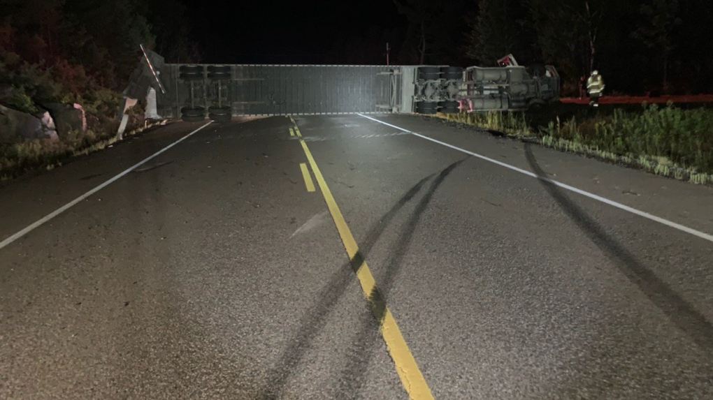 Overnight transport rollover on Highway 17