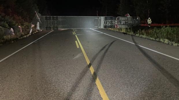 Transport rollover on Highway 17 east of Mattawa