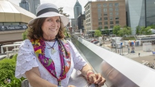 """Margaret Trudeau is bringing her one-woman show to the JFL42 comedy festival. The Toronto festival has revealed a full lineup that includes a four-show run of Trudeau's autobiographical """"Certain Woman of an Age."""" Trudeau is shown in Montreal, Wednesday, June 19, 2019. (THE CANADIAN PRESS/Ryan Remiorz)"""