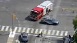 The scene of a collision in Scarborough on August 21, 2019 that left one person dead is seen. (CTV News Toronto Chopper)