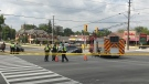 Police are shown at the scene of a pedestrian struck investigation near Midland and Sheppard avenues. (Scott Lightfoot)