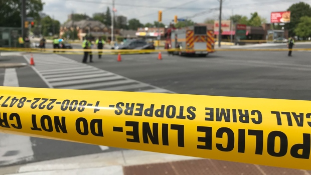 Police tape at the scene of a deadly crash in Scarborough on August 21, 2019 is seen. (CTV News Toronto / Scott Lightfoot)