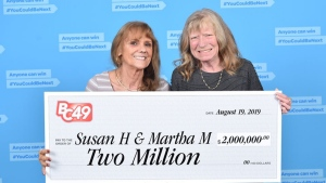 Best friends Susan Hook and Martha McCallum hold their winning cheque in this photo from BCLC.
