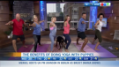 Hosts try yoga with puppies