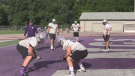 The Western Mustangs practice on Wednesday, Aug. 21, 2019 ahead of their first game of the season on Sunday. (Brent Lale / CTV London)