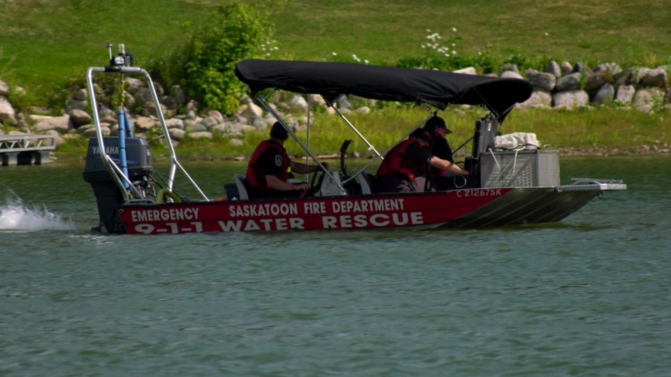Saskatoon Fire Department searchers on the South Saskatchewan River on Aug. 21, 2019. (Ryan Fletcher/CTV Saskatoon)