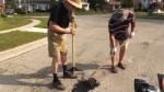 Residents filling potholes themselves