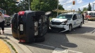 Regional Police say one person was extricated from their vehicle after a crash in Kitchener. (August 21, 2019).